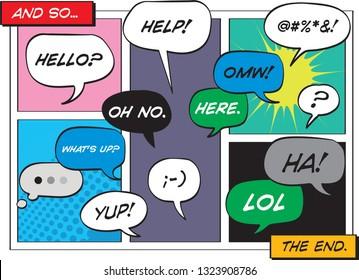 Vector cartoon speech texting balloons