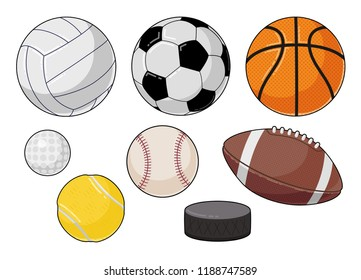 Vector cartoon sports balls set