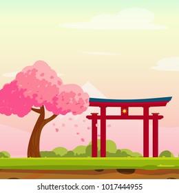 Vector cartoon Spring Japan illustration with sakura trees, bushes, mountains and traditional Japanese portal