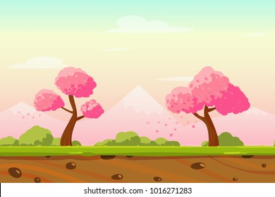 Vector cartoon Spring Japan lanscape with sakura trees, bushes and mountains. Perfect for game background