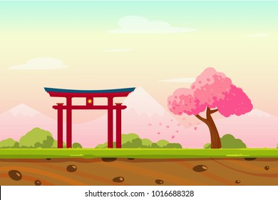 Vector cartoon Spring Japan lanscape with sakura trees, bushes, mountains and traditional Japanese portal. Perfect for game background