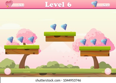 Vector cartoon spring lanscape with trees, mountains, bushes for platform game with levels and gems