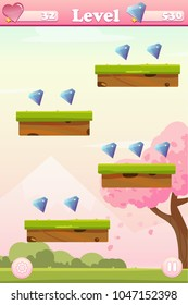 Vector cartoon spring lanscape with trees, mountains, bushes for game background with platforms and gems