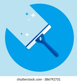 vector cartoon squeegee, scraper, wiper / for cleaning windows, floor, bathroom / shiny / flat, icon template, circle, isolated / blue