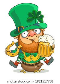 Vector cartoon. St. Patrick's Day card. Cute Leprechaun with a beer mug, coins, trefoil and a horseshoe in hand.