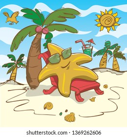 Vector cartoon starfish illustration relaxing on the beach. With Sunglasses.