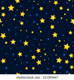 Vector cartoon stars and sky pattern with  sparkle