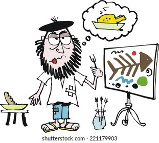 Vector cartoon of starving artist with abstract painting