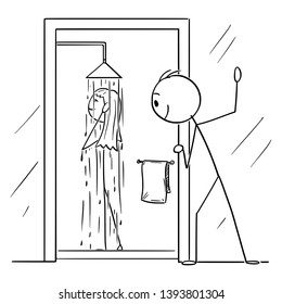Vector cartoon stick figure drawing conceptual illustration of curious man or voyeur watching naked woman taking shower in bathroom.