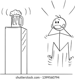 Vector cartoon stick figure drawing conceptual illustration of mad, wild or crazy man who is looking on half-litre or half-liter, mug, pint or half a litre or liter placed on pedestal. Metaphor of alc