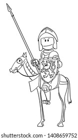 Vector cartoon stick figure drawing conceptual illustration of knight in armor with lance or spear and shield sitting and riding on horse.
