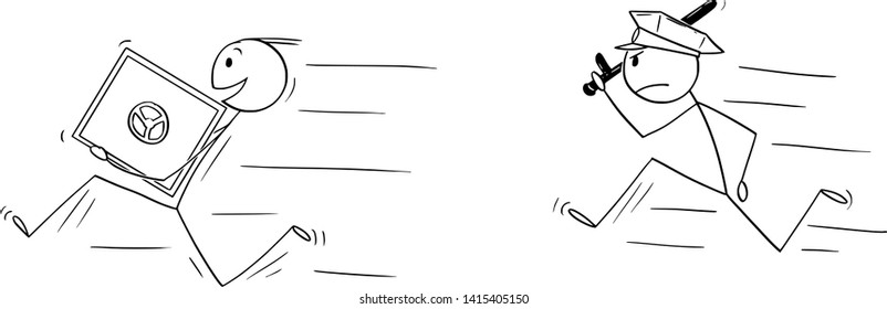 Vector cartoon stick figure drawing conceptual illustration of man or businessman thief smiling and running with bank vault or safe in hands. Policeman is chasing him.