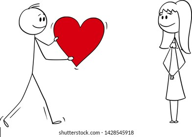 Vector cartoon stick figure drawing conceptual illustration of man or boy giving bog romantic red heart to girl or woman on date. Declaration or confession of love.