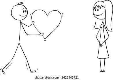 Vector cartoon stick figure drawing conceptual illustration of man or boy giving bog romantic heart to girl or woman on date. Declaration or confession of love.