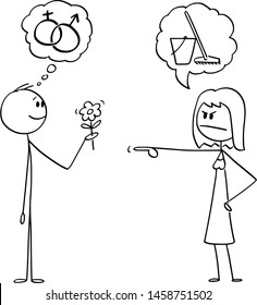 Vector cartoon stick figure drawing conceptual illustration of man holding flower and hoping in romantic sexual intercourse, but woman is sending him to wipe the floor instead.