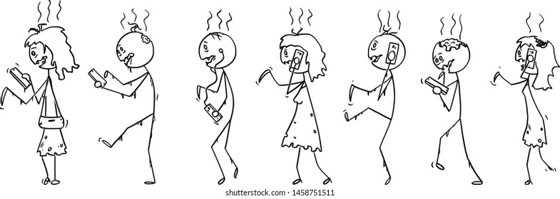 Vector cartoon stick figure drawing conceptual illustration of set of addicted zombies or dead people walking on the street and using mobile phones or cell phones.