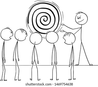 Vector cartoon stick figure drawing conceptual illustration of man, manager or business leader hypnotize team or group of workers with hypnosis spiral.