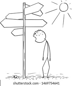 Vector cartoon stick figure drawing conceptual illustration of exhausted and thirsty man walking on hot desert and found empty signpost showing in many directions.