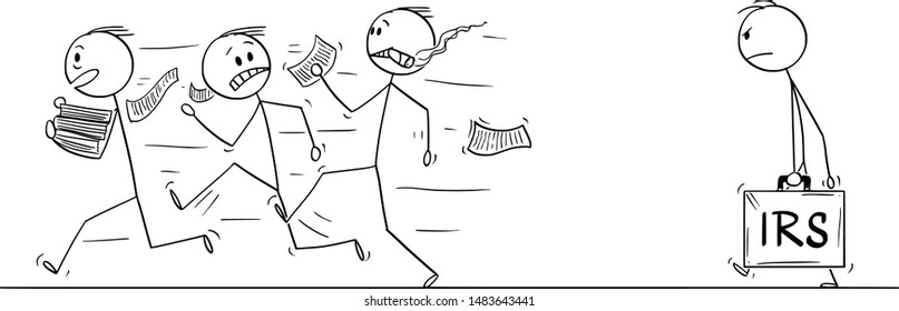 Vector cartoon stick figure drawing conceptual illustration of group of men or businessmen running away in fear from IRS or taxation authority officer .
