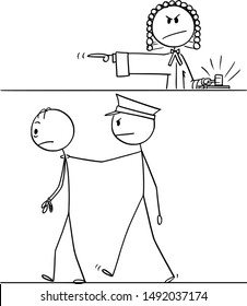 Vector cartoon stick figure drawing conceptual illustration of judge sentence criminal to imprisonment, policeman is taking him to the prison.