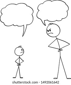 Vector cartoon stick figure drawing conceptual illustration of man or father or parent and boy or son fighting or arguing about something. Empty speech bubbles for your text.