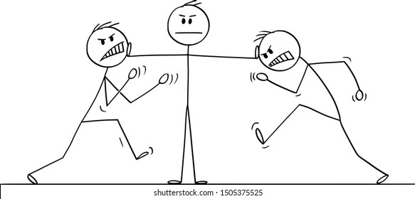 Vector cartoon stick figure drawing conceptual illustration of man, businessman or manager or leader stopping fight of two angry colleagues. Concept of leadership.