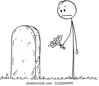Vector cartoon stick figure drawing conceptual illustration of sad man with flower visiting grave on cemetery.