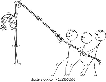Vector cartoon stick figure drawing conceptual illustration of people hanging planet Earth hanged on the rope. Death of the world, environmental preservation concept.