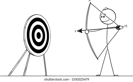 Vector cartoon stick figure drawing conceptual illustration of man or businessman shooting arrow at target with bow. Business concept of pointing at goal or success.