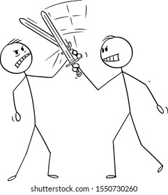Vector cartoon stick figure drawing conceptual illustration of two men or businessmen fighting with swords or fencing. Business concept of competition.