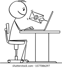 Vector cartoon stick figure drawing conceptual illustration of man or businessman working on computer and receiving email.