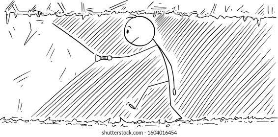 Vector cartoon stick figure drawing conceptual illustration of man walking through dark tunnel, cave or mine.