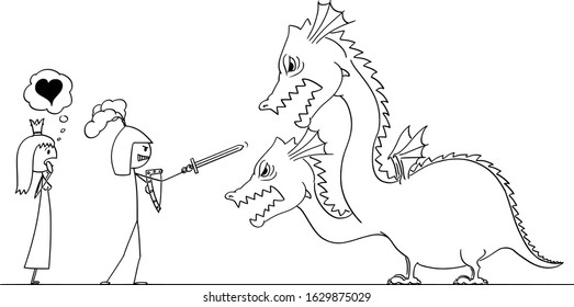 Vector cartoon stick figure drawing conceptual illustration of man in armor or knight going to fight with dragon for his princess of love. Valentine concept.