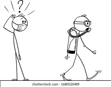 Vector cartoon stick figure drawing conceptual illustration of shocked man in face mask watching another man, wearing scuba diver mask and equipment as coronavirus covid-19 protective suit.