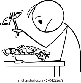 Vector cartoon stick figure drawing conceptual illustration of rich man or businessman with cash on plate, trying to eat money during crisis and shortage of food.