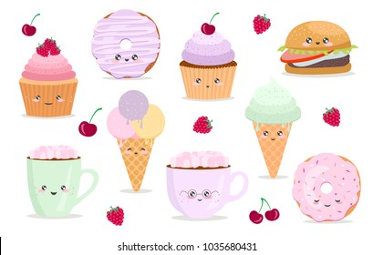 Vector cartoon stickers with funny food characters. Illustrations- cupcake, donut, cup of coffee, hamburger, icecream with emotions
