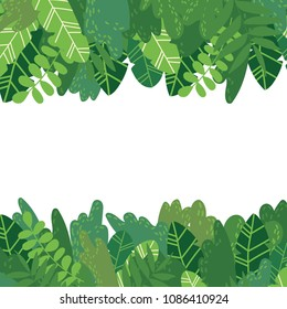 Vector cartoon style background of exotic tropical green leaves and bushes. Horizontal copyspace in the middle