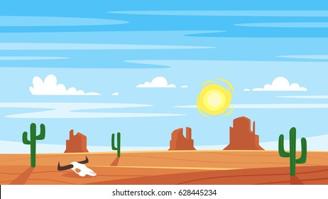 Vector cartoon style background with hot west desert landscape.