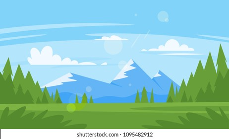 Vector cartoon style background with rocky mountains and forest. Good sunny day.