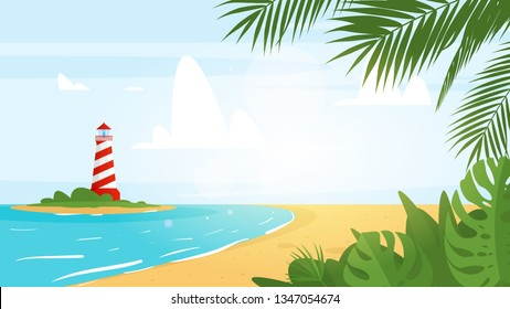 Vector cartoon style background of sea shore with floral palm leaves in the corner. Good sunny day. Lighthouse on the island far away. Vector illustration.