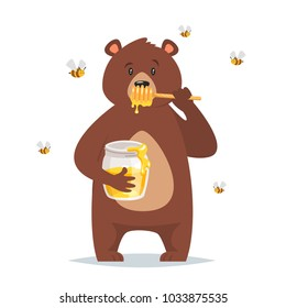 Vector cartoon style bear character eating sweet honey. Bees flying around. Isolated on white background.