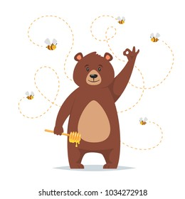 Vector cartoon style bear character eating sweet honey showing a okay hand sign. Bees flying around. Isolated on white background. Ok gesture.