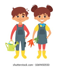 Vector cartoon style boy and girl characters in farm costumes.