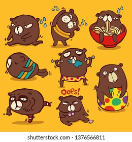 Vector cartoon style, brown bear character, Different emotions and activities to diet Isolated on color background.