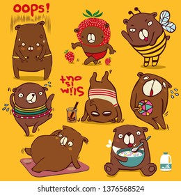 Vector cartoon style, brown bear character, Different funny emotions and activities to diet Isolated on color background.