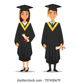 Vector cartoon style characters: man and woman graduates isolated on white background