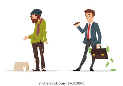 Vector cartoon style characters. Poor and rich man. Isolated on white background.