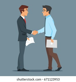 Vector cartoon style characters. Two businessman handshake. Good deal. Concept of business partnership.