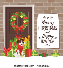 Vector cartoon style Christmas and New Year greeting card with holiday presents, and a dog near home entrance.