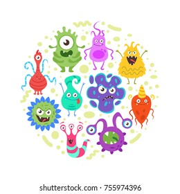 Vector cartoon style circle composition of colorful funny bacteria characters. Good and bad flora microbes. Isolated on white background.